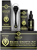 Beard Growth Kit - Derma Roller for Beard Growth 540 Needles + Facial Hair Growth Activator Serum | Microneedle Beard Roller for Men & Organic Beard Oil - Free Grow Beard Guide + Full Warranty