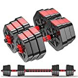 Weights Dumbbells Set – Pair of 44 Lbs Adjustable Hands Dumbbells for Home Gym – Ultimate Two in...