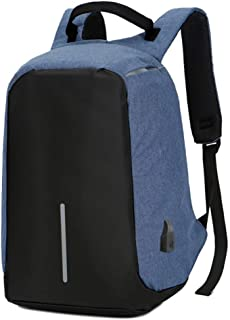 Computer bag large capacity stitching business men's anti-theft backpack Computer Shoulder Bag (Color : Light Blue, Size : 15inch)