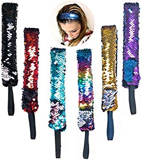 Mermaid Reversible Sequin Headbands for Girls Women 6 PCs Pack - Flip Sequins Wide Headband Set with Elastic Cord Hair Accessories - Great Party Favors, Supplies, Stocking Stuffers