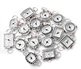 10 Mix Silver Tone Geneva Elite Watch Faces for Beading, Loops and Battery Included