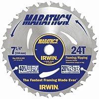 "Irwin Tools Marathon 24T 7-1/4"" Carbide Corded Circular Saw Blade"