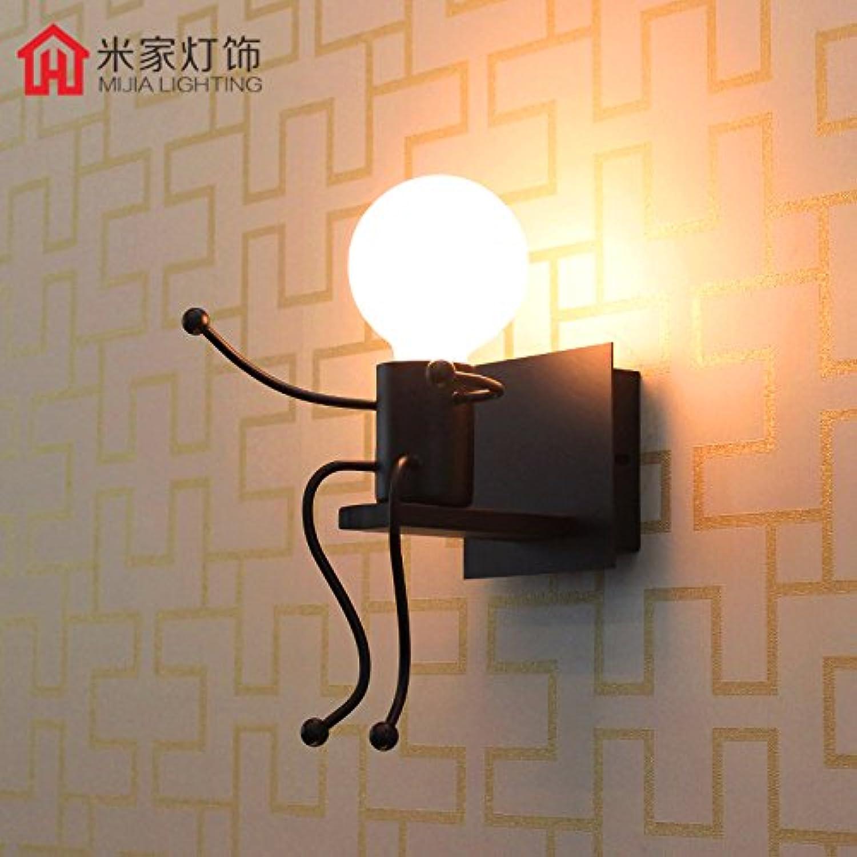 StiefelU LED Wandleuchte nach oben und unten Wandleuchten Wand lampe Nachttischlampe wohn Zimmer Wandleuchte schlafzimmer kinderzimmer Wandleuchte eiserne Wand leuchten, Schwarz Led-b