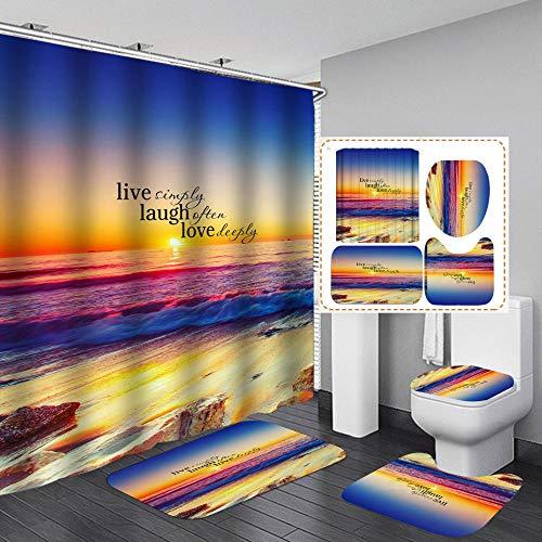 Douchegordijn, waterdicht, polyester, waterdicht, 4-delige set, metalen gesp, 180 x 200 cm, strand