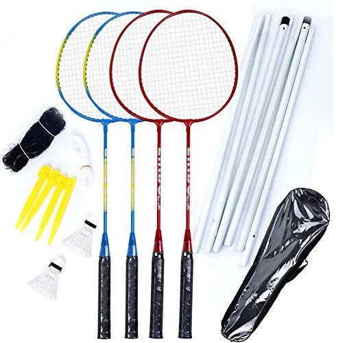 Yiyu Badminton Set Mit Netz Für Sport Outdoor, 4 Schläger Super-Leichtgewicht Federballset Perfekt Für Camping Garten Urlaub Badmintonschläger Set with Net x (Color : 1)