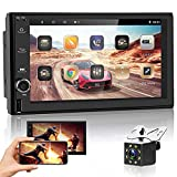 Double Din Android Car Stereo with GPS Navigation - Rimoody 7 Inch Touch Screen Car Radio Support Bluetooth WiFi FM Radio Receiver Android/iOS Mirror Link Split Screen + Backup Camera