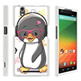 Compatible with ZTE ZMAX Case   Z970 [Slim Duo] Hard Shell Snap On Case Compact Fitted Protector Matte Finish on White Ocean Beach by TurtleArmor - Cute Penguin