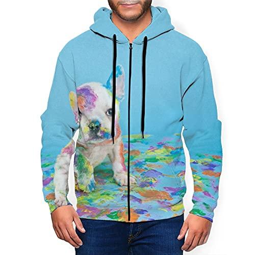 French Bulldog Men'S Hoodies 3d Printed Zip Sweatshirt Pullover Pocket Jacket Black