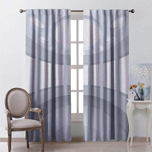 Toopeek Modern Bedroom Rod Pocket Blackout Curtains 3D Visualization of Futuristic Interior Empty Picture Gallery Architecture Print Living Room Color Curtains 2 Panels W42 x L84 Inch White Coconut