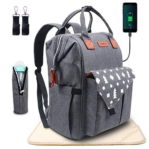 Umitive Zaino Mamma, Multifunzione Neonato Borsa con USB per Viaggio, Grande Capacità, Inviare 1 Fasciatoio Bambino e 2 Ganci di Passeggino e 1 Sacchetto Termico di Bottiglia, Impermeabile, Grigio