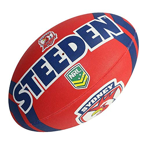 Steeden NRL Sydney Roosters Supporter 2020 Rugby League Ball Rot/Marineblau, rot, 5
