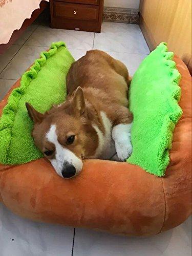 ELINKUME Hundebett,Hot-Dog-Form Tier Hundekissen,Schlafsofa und Tierbett für 4-60kg Katzen und Hunde, mit -S (55 * 43cm), -M (73 * 52), - L (96 * 53) und abnehmbare waschbare Abdeckung (M)