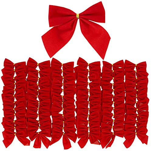 Iconikal Mini Small Red Velvet Bows 3.5 x 3.5-inch, 72-Pack