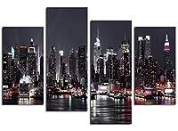レモンツリーART ニューヨークの夜街 夜景 建物 街並 ポスター アートポスター 絵画 現代モダン インテリアアート インテリア装飾 部屋飾り 壁掛け 壁飾り ギフト 新築お祝い (30x60cmx2;30x80cmx2の4枚/セット)