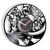 Jeu de Rugby rétro Design Horloge Murale équipe de Football américain Vinyle LP Record Mural Montre Suspendue