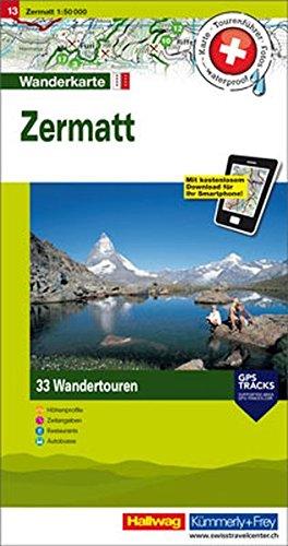 Zermatt: Nr. 13, Tourenwanderkarte mit 33 Wandertouren, 1:50 000, mit kostenlosem Download für Smartphone Karten, Tourenführer, Fotos, waterproof, ... Autobus (Hallwag Touren-Wanderkarten)