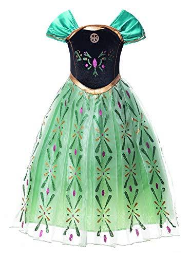 JerrisApparel Niña Princesa Anna Disfraz Fiesta de Cosplay Vestido (7-8 años, Verde)