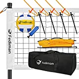 Fediman Heavy Duty Volleyball Net Outdoor Set System - Easy Setup Adjustable Steel Poles, Volleyball and Carrying Bag, Professional Volleyball Nets for Backyard