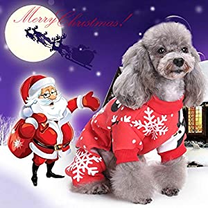 Idefair Vêtements de Noël pour Animal Domestique Chat Chien, Sweat à Capuche Flocon de Neige, Manteau Pull Veste, Costume d'animaux Small Medium Large S/M/L/XL