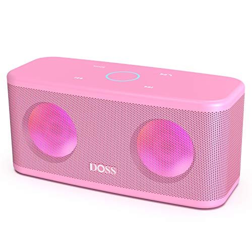 DOSS SoundBox Plus Portable Wireless Bluetooth Speaker with HD Sound and Deep Bass, Wireless Stereo Pairing, Built-in Mic, 20H Playtime, Portable Wireless Speaker for Home, Outdoor, Travel-Pink
