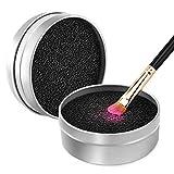 Luxspire Limpiador de Pinceles Maquillaje, Caja de Esponja para Quitar Residuos Polvos Cosméticos sin Agua, Removedor de Color de Brocha a Seco, Limpieza de Esponja Reutilizable Lavable, Plateado