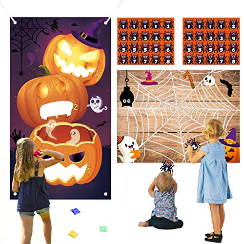 WATINC Halloween Toss Game with 4 Bean Bags and Sticker Game, Pin The Spider on The Web Game, Halloween Pumpkin Toss Game Hanging Banner, Halloween Party Game Activities, Halloween Party Decoration