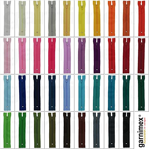 Assortiment de 39 fermetures éclair - Longueur 14cm - Non divisible - 39 couleurs