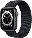 Fengyiyuda Correa Solo Loop Trenzada Compatible con Correa Apple Watch 38/40/42/44mm,Soft Sport Reemplazo Elástica de Correa Nylon Compatible con iWatch Serie 6/5/4/3/2/1/SE,Charcoal,42-7