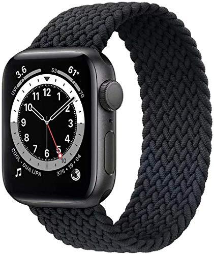 Fengyiyuda Solo Loop Intrecciato Compatible con Cinturino Apple Watch 38mm 40mm 42mm 44mm, Sportiva Nylon Ricambio Elastica Cinturino Compatible con Iwatch Series 6/5/4/3/2/1/SE,Charcoal,42-8