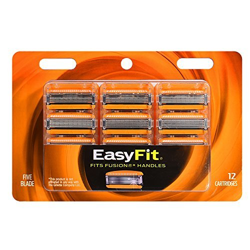 Personna EasyFit 5-Blade Fusion Refill Cartridges – 12 Count Personna EasyFit Fusion5 Razor Blade Refills - Compatible with all Fusion 5 Handles