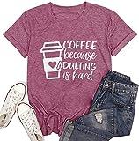 Women Coffee Cute Graphic Shirt Casual Short Sleeve Funny Sayings Leeter Print Tees Tops