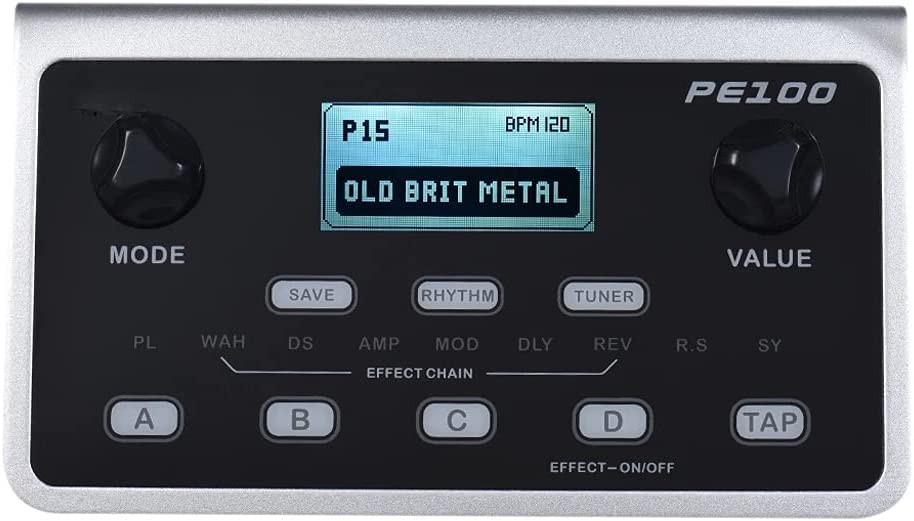 SHYPT PE100 Pedal de Efecto de Guitarra de procesador de múltiples Efectos portátiles Pedal 39 Efectos 40 Patrones de batería 10 Metronome Tap Tempo Guitar Pedal