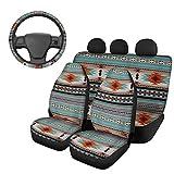SEANATIVE Juego de 4 accesorios para asiento de coche, diseño tribal étnico africano, para asientos delanteros y traseros, funda universal para volante para mujeres y hombres