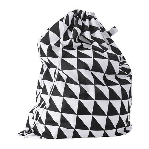 Ikea SNAJDA Wäschesack in schwarz/weiß; (60l)