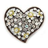 Avalaya - Broche de Cristal Transparente con diseño de corazón en Tono Bronce, 42 mm de Ancho