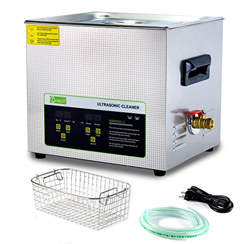 ONEZILI Ultrasonic Cleaner 10L, 240W Ultrasonic Carburetor Cleaner, Industrial Ultrasound Cleaner Machine with 300W Heater Timer for Cleaning Carburetor Jets Parts Jewelry Watches Dentures Glasses