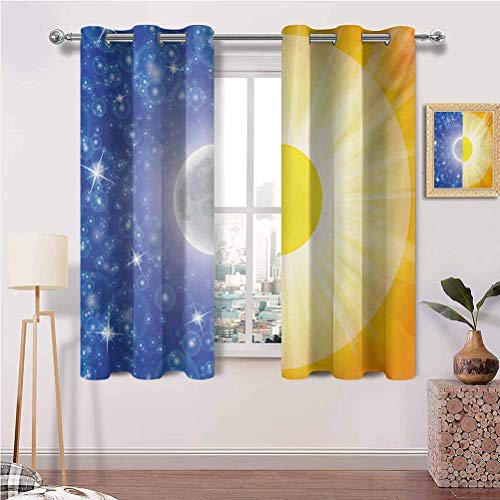 Blackout Window Curtains with Grommets Split Design with Stars in The Sky and Sun Beams Solar Balance Nature Image Print Best Home Decoration Set of 2 Panels (42 x 63 Inch)