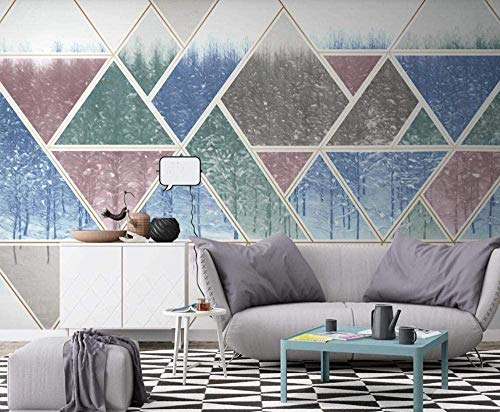 Mural Wallpaper Photo Poster Wall DecorationHand Drawn Abstract Geometric Lines Pine forestBackground Wall Background Painting Panorama 3D Wall Mural Decor 100 * 140cm