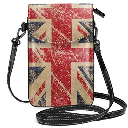 Borsa a tracolla piccola con tracolla per telefono cellulare con bandiera britannica con tracolla rimovibile