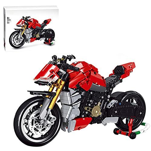 Myste Technics Moto Briques de Construction, 827+Pièces Moto de Course Tout-Terrain Moderne Superbike Modèle de Moto à Collectionner, Blocs Compatible avec Lego Technic 42063