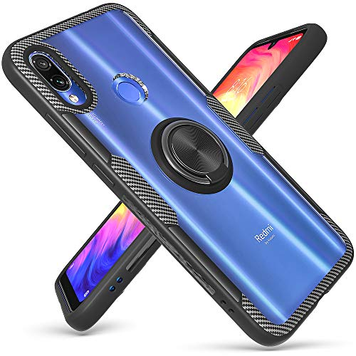 QSEEL for Xiaomi Redmi Note 7 /Pro Clear Ring Armor Case, One-Piece Shockproof Hybrid Bumper Combined with High-Density TPU, Hard Crystal PC Panel and Built-in Ring Holder (Redmi Note 7 /Pro, Black)