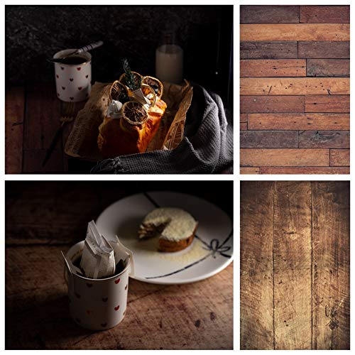 Selens 2in1 Flat Lay Hintergrund 56x88cm Braun Holzmaserung Fotografie Hintergründe Lebensmittel Kosmetik Tischplatte Doppelseitiger Hintergründe Foto für Gourmet Kosmetik Produktfotografie Poster