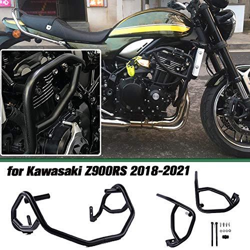 Lorababer Motorrad Schwarz Stahl Motorschutz Sturzbügel/Schutzbügel für KAWASAKI Z900RS Z 900RS Z 900 RS Cafa Zubehör 2018 2019 2020 2021(Schwarz)