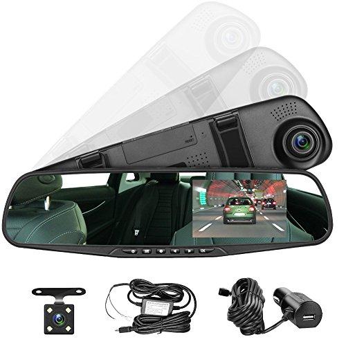 Panlelo PAC30G 4.3 Inch LCD Verde Screen Car HD Video Recorder Dual Dash CAM Vehicle Rearview Mirror DVR Auto Dual Lens Front & Reversing Camera USB Port