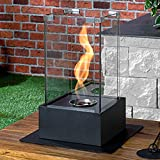 Gr8 Home Black Bio Ethanol Tornado Fireplace Free Standing Indoor Outdoor Stainless Steel Metal Glass Portable Camping Table Top Fire Burner Flame Heater