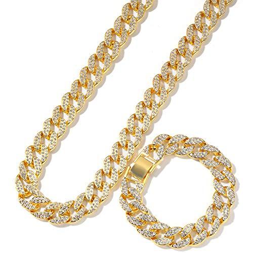 Iced Out Strass Golden Finish Miami kubanischen Gliederkette Armband Halskette Set Herren Hip Hop Schmuck Geschenke,Gold,30inch+7inch