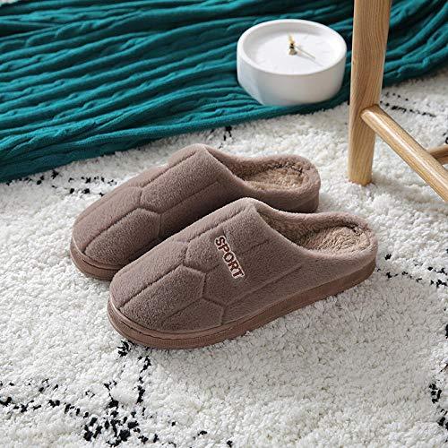 QPPQ Pantuflas de algodón Antideslizantes,Zapatillas de otoño/Invierno, Zapatillas de algodón para el hogar-marrón_44-45,Pantuflas cálidas de algodón