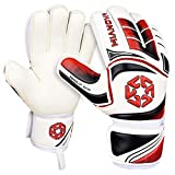 Mianova Goalie Goalkeeper Gloves Latex Palm Soccer Gloves Super Grip with Finger Protection for The Toughest Saves Youth & Adult Sizes for Boys& Girls, Color Red 30 Days Warranty.