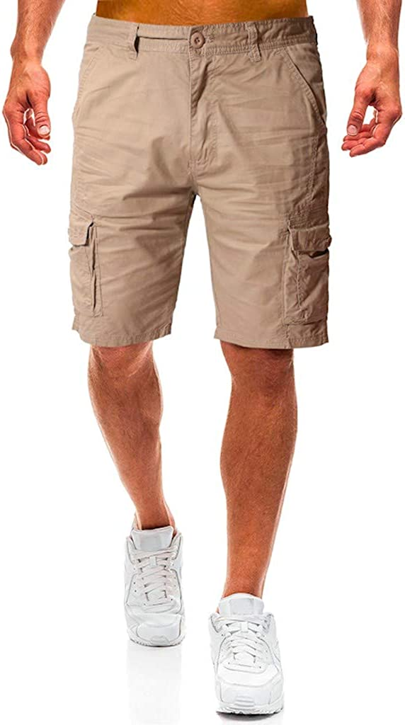 Cargo Shorts Forthery Men's Casual Pure Color Relaxed Fit Multi-Pocket Beach Work Trouser Cargo Shorts Pant(Khaki,28)