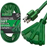 Kasonic 50 Ft Extension Cord with 3 Outlets, UL Listed 16/3 SJTW 3-Wire Grounded, 13A 125V 1625W for Indoor/Outdoor Use - Green